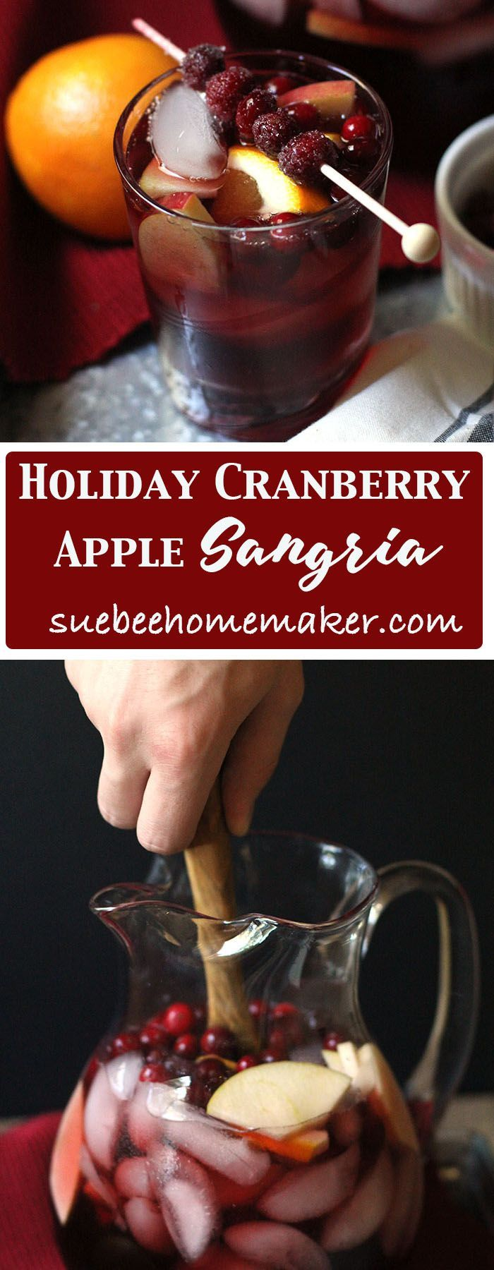 Holiday Cranberry Apple Sangria combines your favorite red wine with brandy,cointreau, a combo of cranberry and apple juice, simple syrup, and fresh fruit! | suebeehomemaker.com
