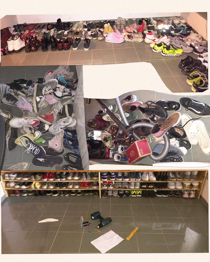 When ur gf has more sneakers than a shoes shop and outside is raining you're like fkit I'm gonna fix this.... Now I have to fix the 87 pair of boots 13 pairs of dr Martens 62 bags  Quando ci sono piu scarpe di un negozio di scarpe e fuori piove..... Ora tocca agli stivali anfibi e borse #diy #shoes #shoesrack #scarpe #scarpiera #faidate #sneakers #tennisshoes #onepictureadayfrancesco #francescoadventures #francescothebuilder