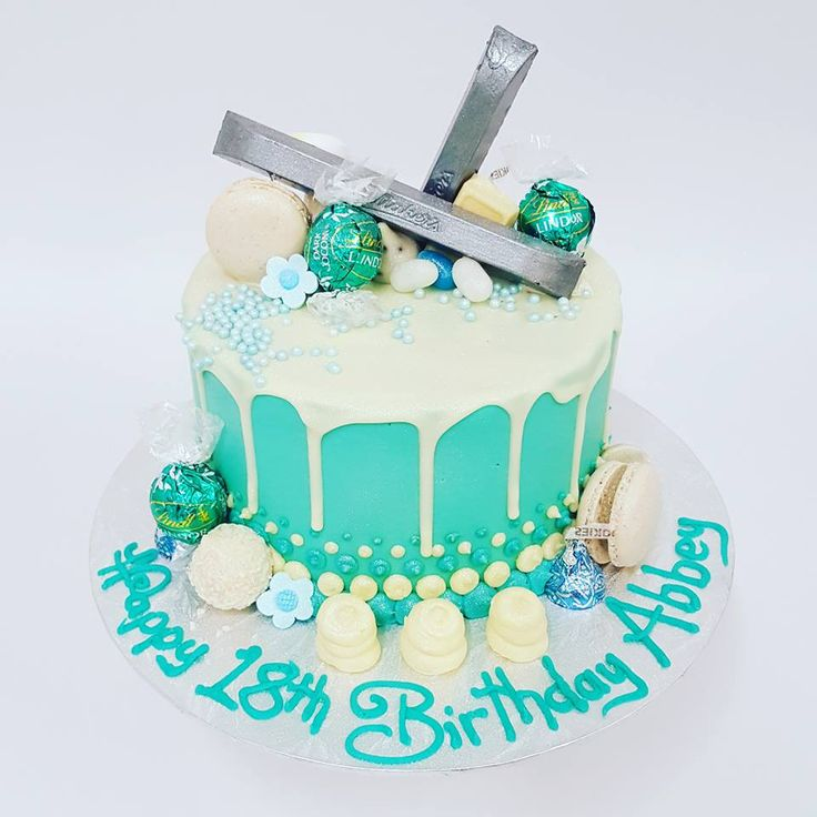 Smooth Teal with White Chocolate Drip and Teal and Silver toppings