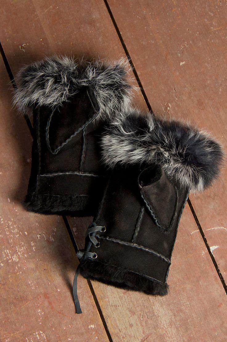 Women's Fingerless Sheepskin Gloves with Rabbit Fur Trim by Overland Sheepskin Co. (style 70288)
