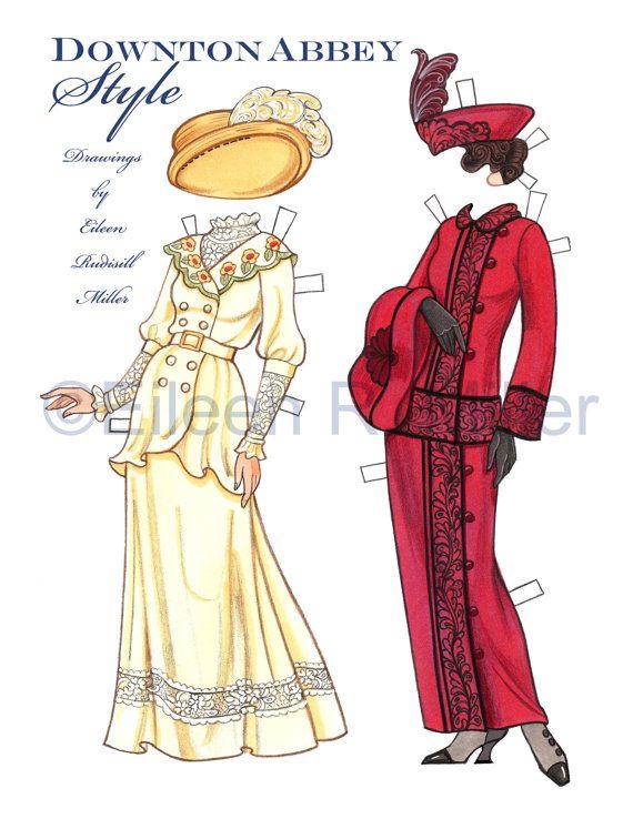 Muñeca de papel bellamente ilustrado y 5 trajes impresión en 3 hojas 8.5x11 tarjeta de existencias. Estilo de Downton Abbey. Muñeca de papel de originales diseños basados en el período de la moda de la de 1910-una de mis eras de moda favorito de todos! Las casas de moda de valor y Poiret. La opulencia, el rebordear, el bordado, los sombreros