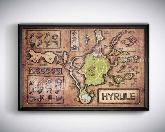 Carte d'Hyrule de Legend of Zelda Ocarina of Time  par hutui