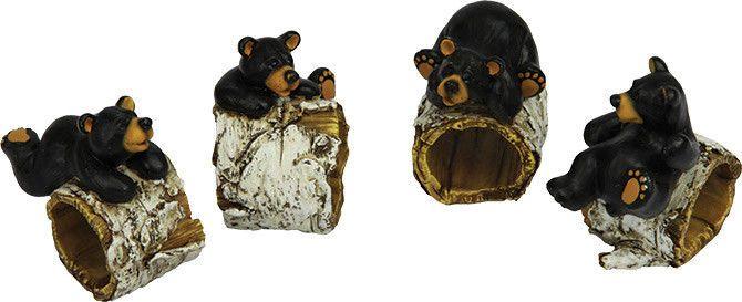 Napkin Holder Rivers Edge Bears//Pine Tree 4 Pc