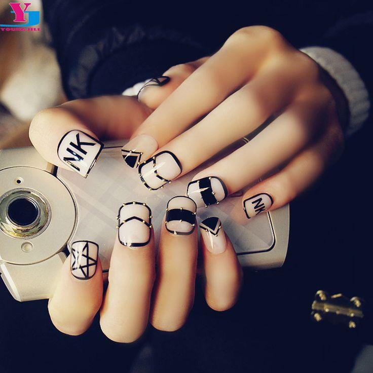 Hot Stile Punk Borchie Oro Corte Unghie Finte 3D Unghie Finte DIY Manicure di Punte di Arte Carino Nep Nagels Incontrato Lijm Acessorios Para Mulher(China (Mainland))