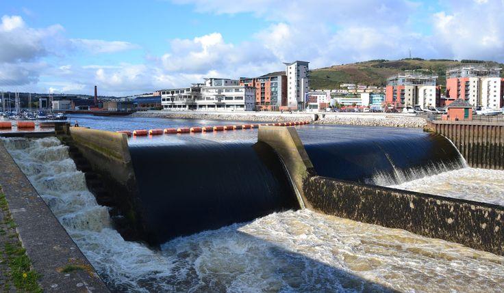 River Tawe Barrage, Swansea, Wales.