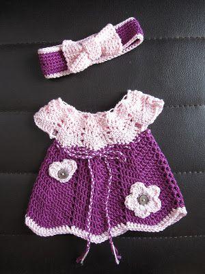 Puppenkleid und Haarband häkeln #diy #Puppenkleidung #häkeln #crochet #accessoires