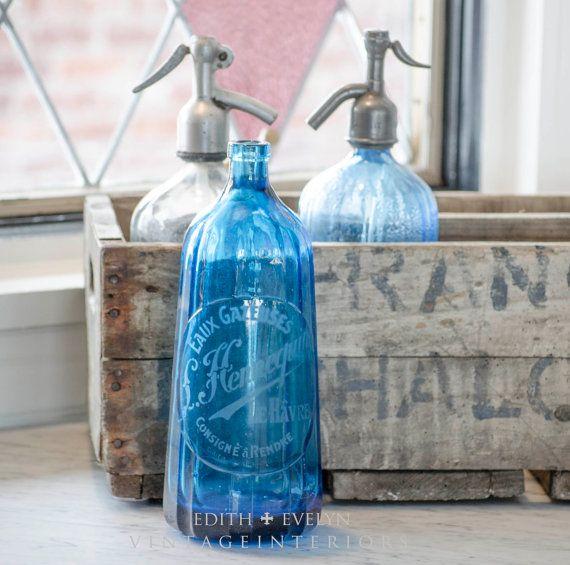 Antique FRENCH Seltzer Bottle Fluted Cobalt Blue by edithandevelyn