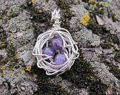 Home Tweet Home Wire Bird's Nest Pendant in Amethyst