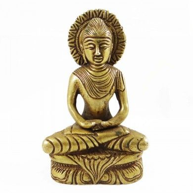 Brass Metal Buddha Sculpture Golden Figurine Hand Carved Art Ritual Home Decor