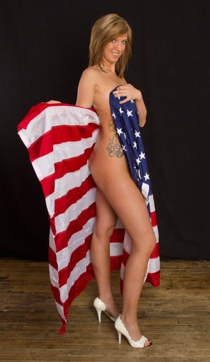 Sexy patriotic blonde nude assured, what