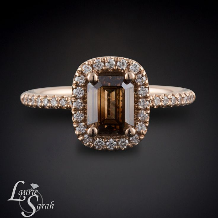 Chocolate Diamond Engagement Ring Rose Gold by LaurieSarahDesigns, $6,462.00