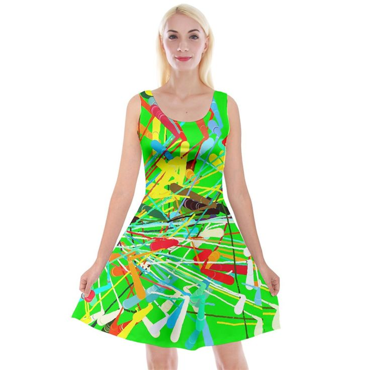 Colorful painting on a green background Reversible Velvet Sleeveless Dress