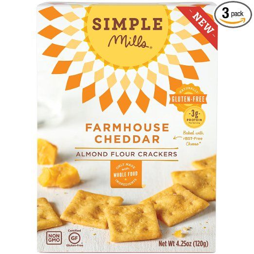 Simple Mills Farmhouse Cheddar Almond Flour Snack Crackers, Gluten Free, Natural…