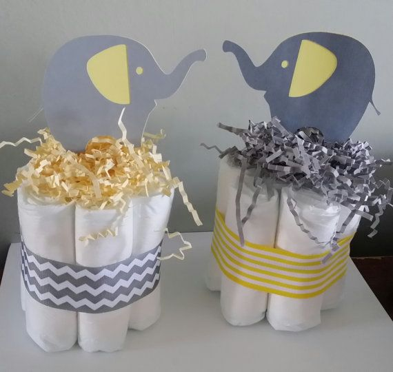 2 Elephant mini diaper cakes baby shower by diapercake4less, $13.99