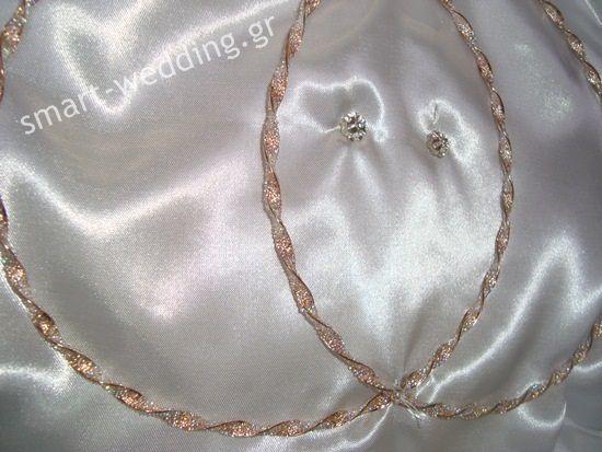 Ασημένια στέφανα γάμου σε ροζ - χρυσό με τρίμματα swarovski