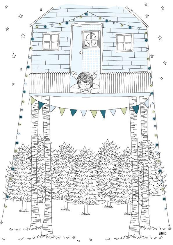 """""""Dream Hut"""" illustration enfant, la cabane à rêves, bleu ciel, pétrole, amande, affiche enfant, décoration enfant, LPMDC"""