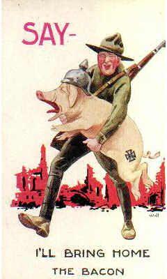 """Say - I'll Bring Home the Bacon"" ~ WWI humorous British postcard."