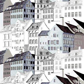 Kobenhavn tyg från finska Vallila Interior har ett mönster skapat av textildesignern Riina Kuikka. Tyget är tillverkad i en mix av bomull och polyester med ett modernt urbant mönster föreställandes Köpenhamns vackra arkitektur i blåa toner. Tyget kan användas både som gardin eller duk och tillför en spännande och modern look till ditt hem!