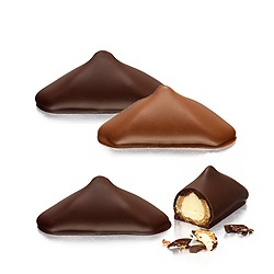 Caprice: A traditional artisanal nougatine Hand-filled with smooth Madagascar vanilla fresh cream and coated with dark chocolate by Neuhaus Chocolates