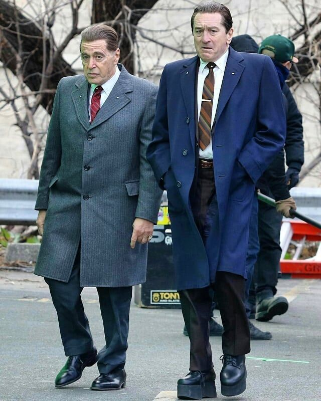 Al Pacino Robert De Niro On Set Of The Irishman Movie