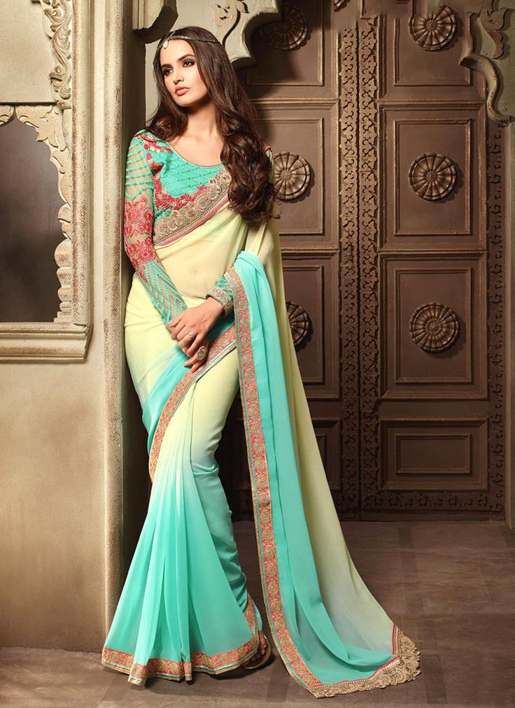 Sarees online shopping and check latest collection in saree. Buy now! This suave cream embroidered and patch border work classic designer saree. Available cod and customization.