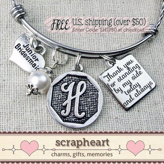 Jr Bridesmaid Bracelet Junior Bridesmaid Gift by ScrapheartGifts