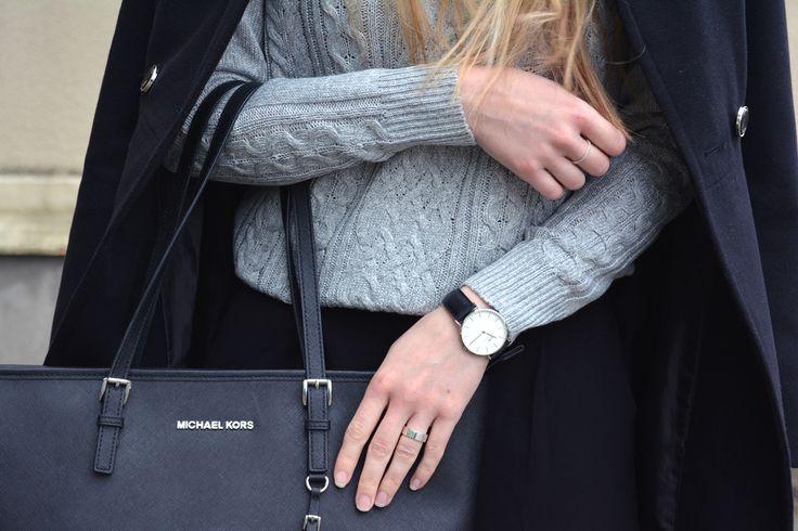 Details. Daniel Wellington watch, Mchael Kors bag. Grey sweater and black coat