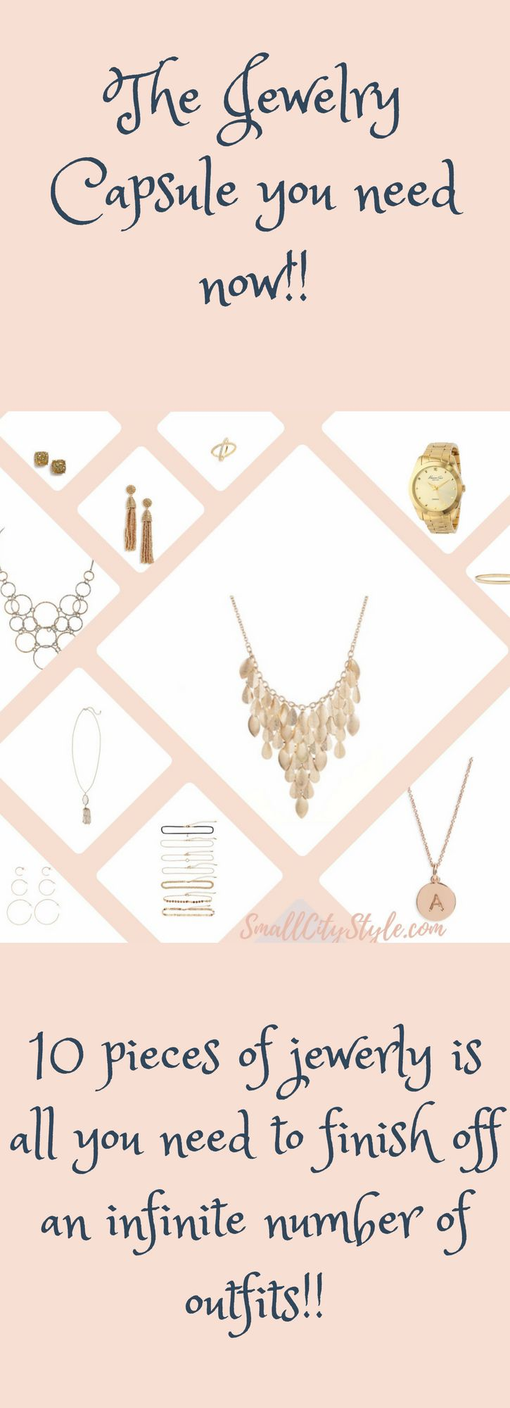 10 pieces of jewelry make up this jewelry capsule!  See what you need to finish off any outfit!