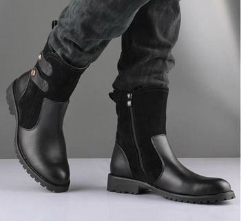 Free Shipping High Quality Men Korean Army Boots Brand British Snow Boots Fashion Patchwork Zip
