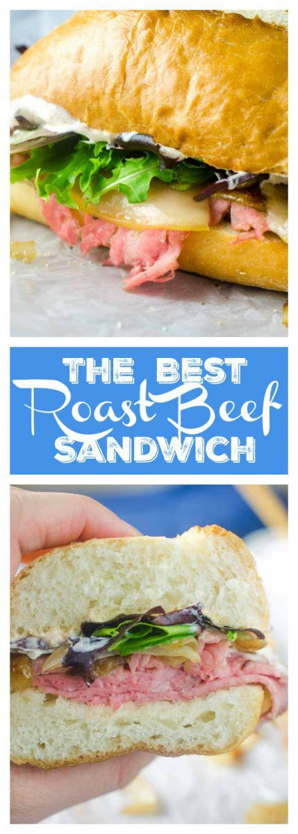 The Best Roast Beef Sandwich loaded with thinly sliced roast beef, caramelized onions, lettuce and a creamy horseradish sauce.