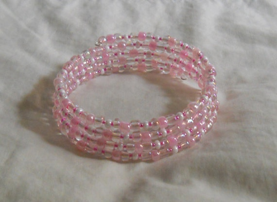 Memory Wire Beaded Bracelet Cuff Pink White