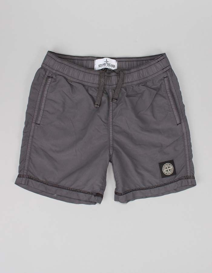 Stone Island Junior Grey Small Logo Shorts | Accent Clothing