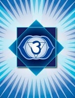 "Third Eye Chakra: ""Ajna""  Location: Above and between eyebrows  Color: Indigo  Element: Pure Essence  Mantra: Om  Meditation: I see  Affirmations: I follow my inner guidance. My vision is perfectly ordered and illuminated by love.  Related to: Intuition, and wisdom  Asana: yoga mudra, tree, dancer, crow, bridge, shoulder stand, lotus, palm eyes  Visualizations, chanting"
