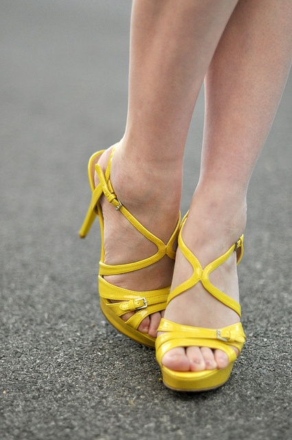 Yellow isn't exactly *my* color but I'm digging these strappy heels.
