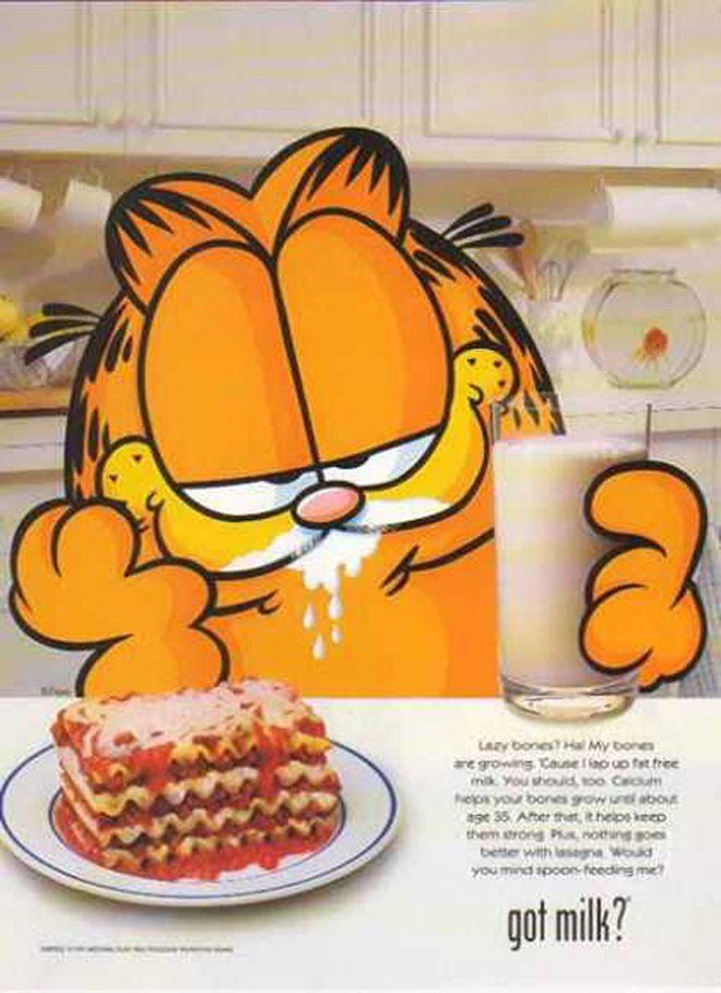 Pin for Later: The Most '90s-tastic Got Milk? Ads  Apparently Garfield likes to wash his lasagna down with a tall glass of milk.