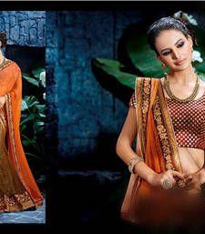 Buy Multicolour stones work chiffon saree with blouse lehenga-saree online