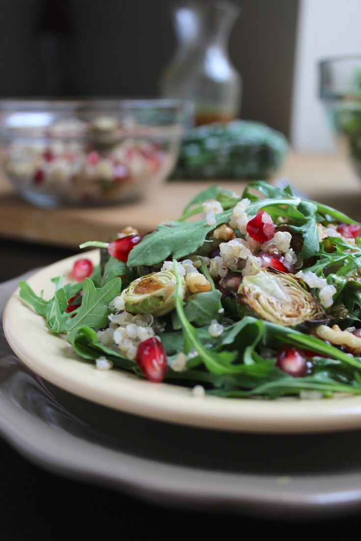 Brussels Sprout and Pomegranate Salad | Vegan: Salads | Pinterest