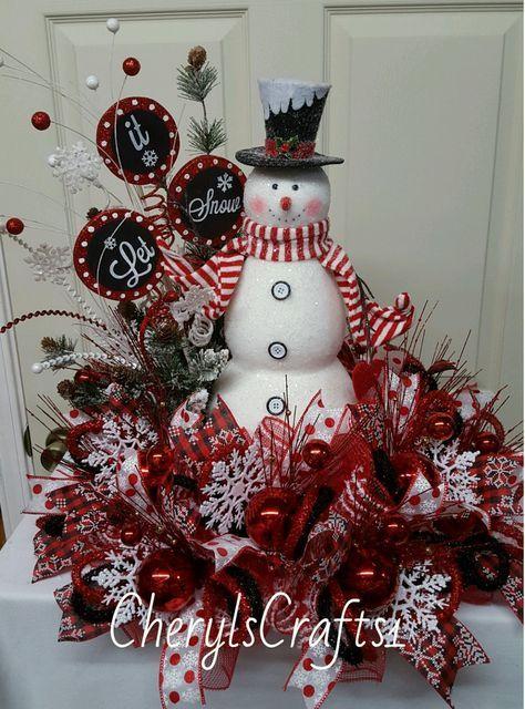 Christmas Centerpiece, Christmas Mesh Centerpiece,Snowman Centerpiece, Winter Centerpiece,Winter Table Decor by CherylsCrafts1 on Etsy