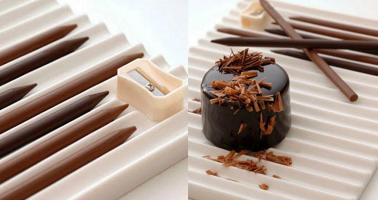 Los lápices de chocolate de Nendo y Tsujiguchi Hironobu - Una manera original de presentar un postre a tus invitados, una vez servido en la mesa los comensales tienen que darle el toque final sacando punta a los lápices de chocolate de Nendo.