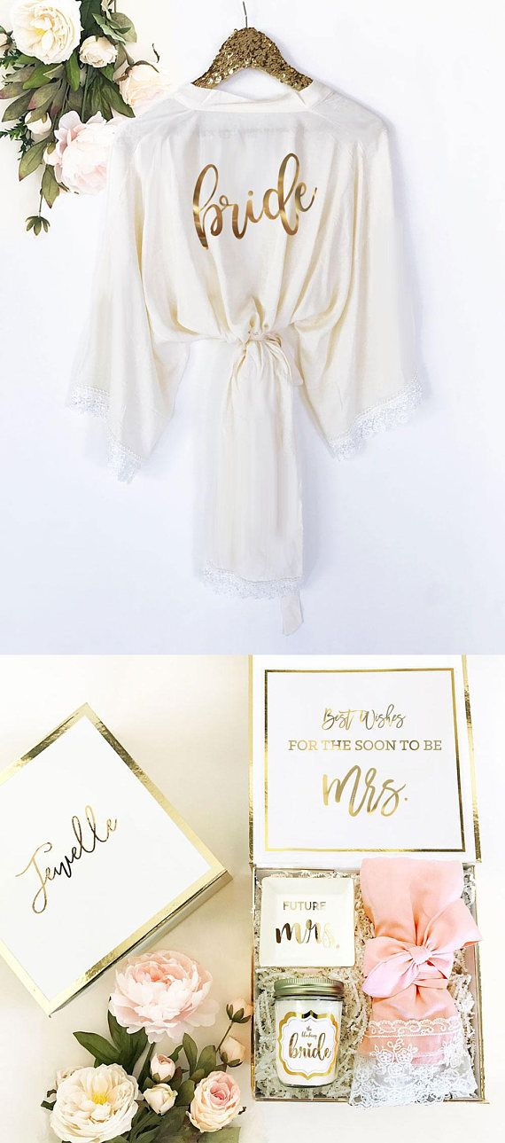 Bride Robe Lace Cotton Bride Gift Bride to Be Gift Wedding Day Robe Getting Read… – Wedding