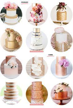 Blog OMG I'm Engaged - Inspiração bolos de casamento metálicos, cobre e dourado.