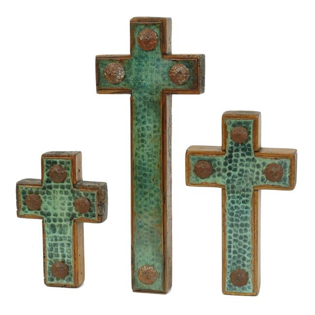 teal crosses: