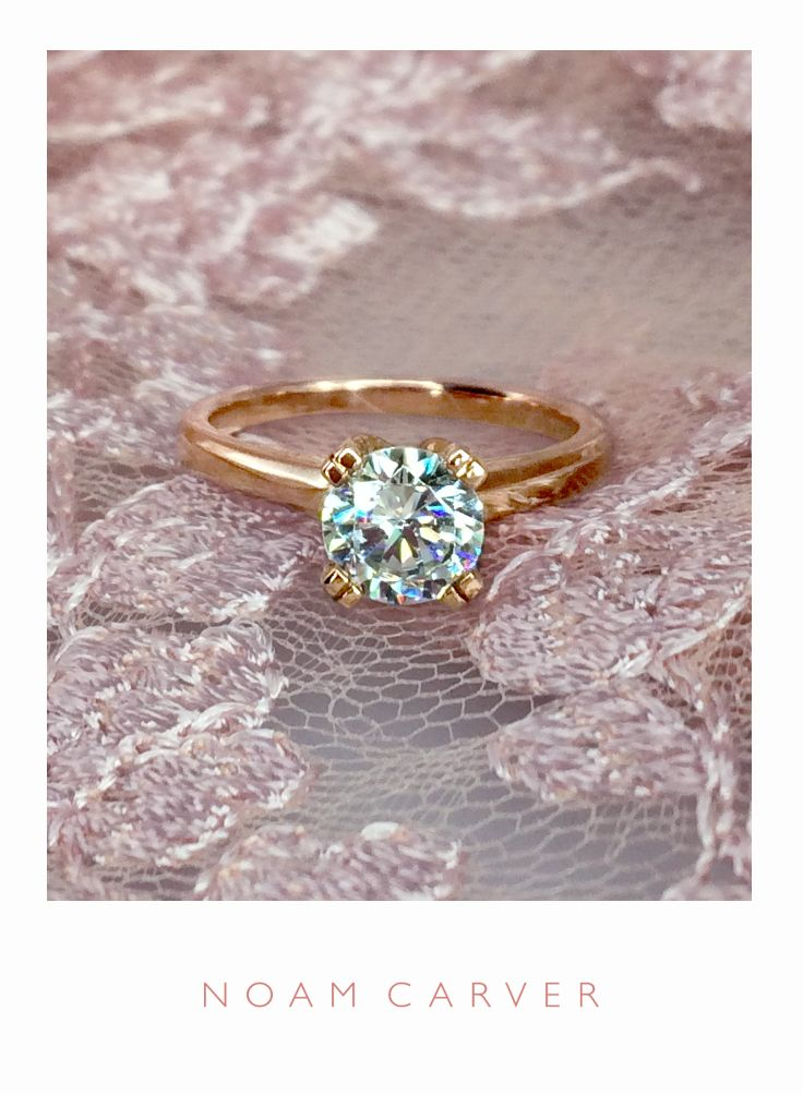 Blush wedding gowns are all the rage. They'd go perfectly with this rose gold engagement ring!  Ring by Noam Carver Bridal - Model# B002-02R