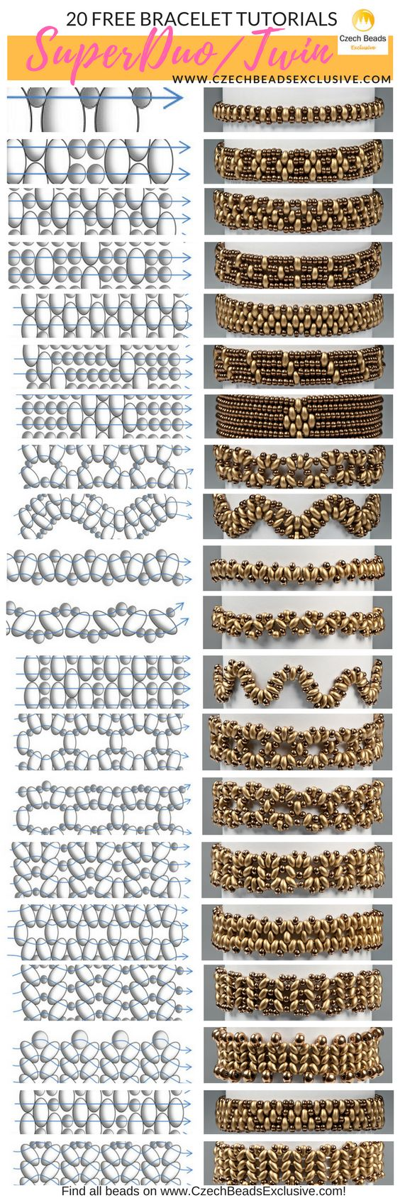 Czech Glass SuperDuo or Twin Beads - 20 Easy SuperDuo Bracelet Techniques! - SuperDuo Patterns Free /  SuperDuo Tutorials SAVE it --> you can find all materials on www.CzechBeadsExclusive.com ------ #superduobeads #seedbeads #superduo #czechglassbeads #glassbeads #CzechBeadsExclusive #czechbeads #glassbeads #bead #beaded #superduo #beadedjewelry #handmade #etsy #dawanda #amazon #diy #czechglass #glassbeads #freetutorials #freepattern #tutorials