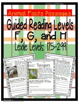 (Differentiation Made Easier) Organized by Lexiles and Guided Reading Levels-- The document includes 15 reading passages. It contains:---(5 Passages) Guided Reading Level F (Lexile Levels 175-199)---(5 Passages) Guided Reading Level G (Lexile Level 200-270)---(5 Passages) Guided Reading Level H (Lexile Level 275-299) An Answer Key is Also Included Too..$
