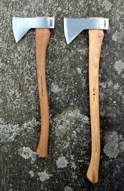 "Council Tool Velvicut Hudson Bay Axe (left) and rebranded Best Made Axe (right) with longer unfinished grade ""A"" hickory handle."