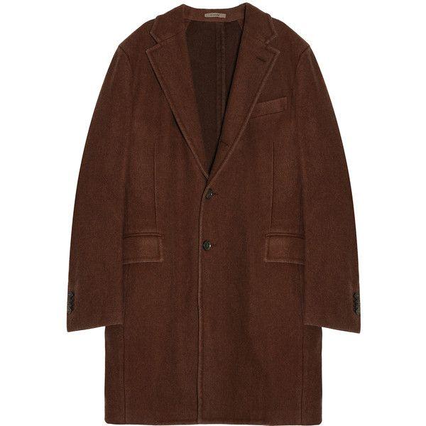 BOGLIOLI Wool Coat (77.020 RUB) ❤ liked on Polyvore featuring men's fashion, men's clothing, men's outerwear, men's coats, jackets, coats, outerwear, mens brown trench coat, mens wool outerwear and mens wool trench coat