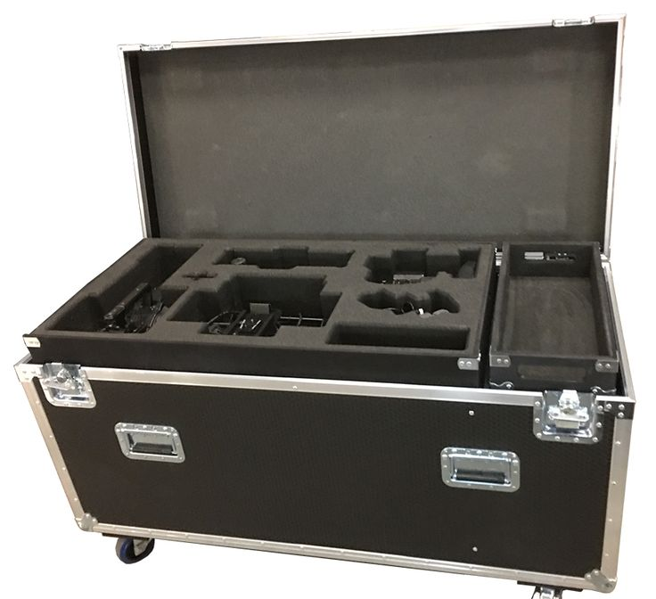Road Trunk for HD Camera Ikegami, accessories, 2 trays, trypod, schill 380 Cable Reel and empty space for extra cables and accessories lined in 6mm foam on bottom of the case from Best Flight Cases CARD 19006 TRUNK TO TAKE CAMERA  AND ACCESSORIES, 2 TRAY