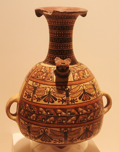 Inca culture vessel (paccha) Imperial period,1300-1532 AD Museo Larco Lima