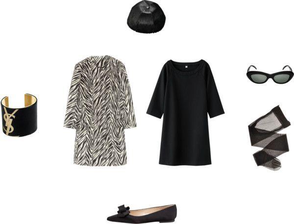 Outfit Uniqlo print dress, Etro zebra coat /Lingerie stocking, / Manolo Blahnik flat shoes / Givenchy snapbacks hat, / Conservatoire International De Lunettes cat eye sunglasses